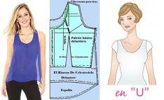 Escote en U. Desarrollo de modas Dress Patterns, Sewing Patterns, Beading Tutorials, Floral Blouse, Designer Dresses, Underwear, Barbie, Dress Template, Clothing Templates