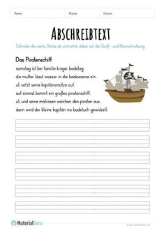 Worksheet: Copy Text Pirate Ship Level of Education Tent Photography, German Grammar, German Language Learning, Future Jobs, Dyslexia, Summer Kids, Primary School, Reading Comprehension, Kids Learning