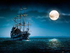 sailing under the moonlight