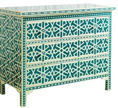 Surrealz Mother of Pearl inlaid Chest of Drawers Cupboard Sideboard in Green with aztec abstract star pattern Also available in other mother of pearl inlay, colours and patterns