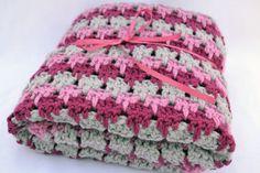 rain drop pink crochet baby blank by ValkinThreads2