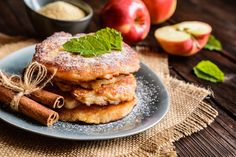 """Nothing says """"Good morning!"""" like apple cinnamon pancakes! The team of bistroMD chefs and dietitians have created this recipe for a well-balanced, delicious breakfast. Kefir Recipes, Almond Recipes, Apple Recipes, Cake Recipes, Pancakes No Milk, Best Pancake Recipe, Bistro Food, Homemade Burgers, How To Make Pancakes"""