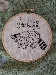 FOUR INCH BAND I love garbage raccoon trash animal cross stitch embroidery four inch ribbon, . - FOUR INCH RIBBON I love garbage raccoon trash animal cross stitch embroidery four inch ribbon, - Learn Embroidery, Hand Embroidery Stitches, Hand Embroidery Designs, Embroidery Techniques, Ribbon Embroidery, Embroidery Art, Cross Stitch Embroidery, Cross Stitch Patterns, Machine Embroidery