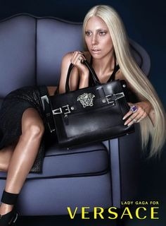 In the second image of the latest Versace Spring Summer 2014 campaign, Lady Gaga is captured with the new Palazzo bag, the campaign marks the latest stage of a continuing friendship between Donatella Versace and Lady Gaga and it's the first time Lady Gaga has starred in any fashion advertising.
