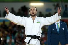 Sherzod Namozov of Uzbekistan celebrates the victory against Makoto Hirose of Japan during men 60 kg gold medal match on Day 1 of the Rio 2016 Paralympic Games at Carioca Arena 3 on September 8, 2016 in Rio de Janeiro, Brazil.