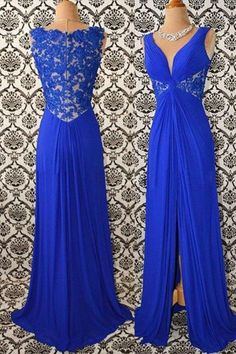 Blue chiffon prom dress, ball gown, long prom dress with slit