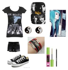 """""""The Beatles"""" by kacismith ❤ liked on Polyvore featuring VILA, Converse, Accessorize, Maybelline and Lancôme"""