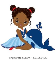 Vector cute little African American girl with baby whale. Beautiful Black Girl, Black Girl Art, Black Art, Free Vector Images, Vector Art, Baby Whale, African American Girl, Cute Fairy, Afro Girl