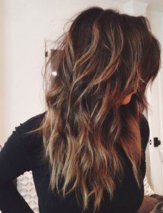 15 Sexy and Stylish Long Layered Haircuts. Long layered haircuts are totally making a comeback. Balayage hair is suitable for light and dark hair, Long Shag Hairstyles, Long Shag Haircut, Haircut For Thick Hair, Layered Hairstyles, Hairstyles 2018, Long Hairstyles With Layers, Formal Hairstyles, Guy Hairstyles, Wedding Hairstyles