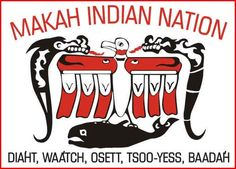 The Makah Nation is a Native American Nation whose reservation is located in the town of Neah Bay and includes the most northwest point of the continental United States. Across the Strait of Juan de Fuca you can see Vancouver Island in Canada. Near the village are Cape Flattery, Shi Shi Beach and the Olympic National Park. The names on the bottom of the seal in black, are the five villages that belong to the Makah Nation.