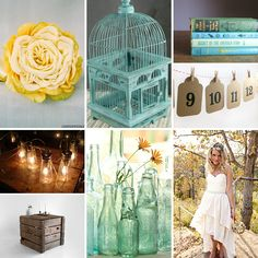 Loving the bird cage - it would be a great card box.    Google Image Result for http://blog.weddingwire.com/wp-content/uploads/2011/01/Rustic-Yellow-and-Teal-Weddings.jpg