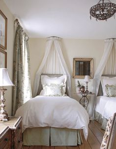 Guest Room Paxton decorated her ultra-feminine guest room to feel like a bed-and-breakfast in the south of France. To keep a rustic feeling, Paxton used salvaged cypress floorboards from a barn and left quarter-inch gaps between boards.