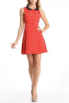 Dina Contrast Collar Dress in Red.