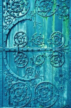 Fantastic color turquoise door with iron-work to die for... ~js