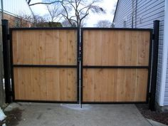 black metal wood fence and gate - Google Search