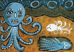 Octopus ACEO miniature painting, outsider art, naive, folk
