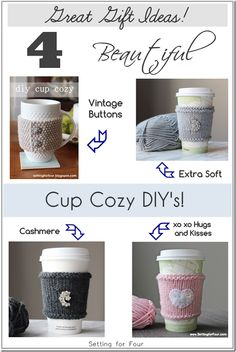 Great gift ideas! 4 Quick Knit Cup Cozy DIY's - Setting for Four