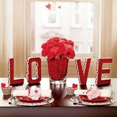 Love Table via Life is a Banquet {Beaux & Belles blog}... Could use cardboard letters to spell anything!