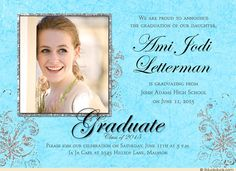 Soft Graduate Blue Swirled Class of 2015 Silver-Gray Floral Accent Design Idea - 1-4 Optional Photos