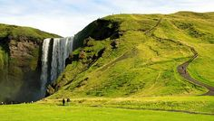 4. Skogafoss Waterfall in South Iceland  This is the Skogafoss waterfall which is considered Iceland's most beautiful waterfall. Waterfall Skogafoss is 60 m high and counted among the most beautiful of the country. At least 20 more waterfalls cascade down the mountain slopes above the Skogafoss.