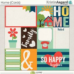 Home {Cards} - Digital Scrapbooking Pocket Journaling Cards by Kristin Aagard Designs