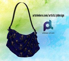 Yellow Gold sparkles Anchor pattern navy blue Origami Bag by #PLdesign #sparkles #anchor #SparklesGift #artofwhere