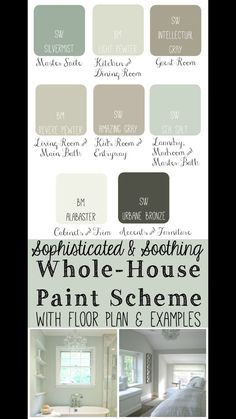 Whole House Paint Scheme ideas: Master Bedroom: Sherwin Williams Silvermist. Kit… Whole House Paint Scheme ideas: Master Bedroom: Sherwin Williams Silvermist. Kitchen and Dining Room: Benjamin Moore Light Pewter. Interior Paint Colors, Paint Colors For Home, Interior Design, Paint Colours, Interior Ideas, Interior Painting, House Color Schemes Interior, Painting Tips, House Painting