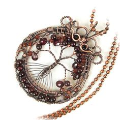Tree of Life Pendant Garnets Wire Wrapped  Antiqued Copper