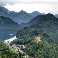 Hohenschwangau Castle in the Bavarian Alps the home Mad King Ludwig grew up in. Photo by . Usa Today, Munich, Alps, Mount Everest, Travel Photography, Mad, Traveling, Castle, Germany