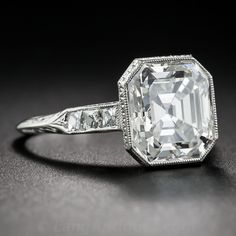 4.04 ct. Asscher-Cut Diamond and Platinum Ring GIA H VS1 - Shop for Jewelry