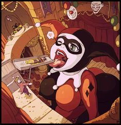 Anime picture with dc comics batman harley queen batman (character) the joker batgirl robin (character) karbo tall image short hair open mouth light erotic breasts brown hair multiple girls large breasts one eye closed wink grey eyes erect nipples Batgirl, Catwoman, Thicc Anime, Anime Art, Comics Girls, Dc Comics, Joker Und Harley Quinn, Pokemon, Wow Art