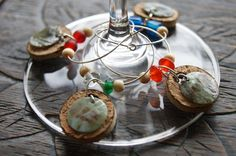 Wine glass charms with cork