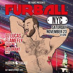 """Furball on Instagram: """"Furball NYC - first time back in NYC since World Pride - Fall Ball MUSIC: Lucas Flamefly & Lorant Sat Nov 30 Hudson Terrace 10pm Men - Gear…"""" Mens Gear, First Time, Terrace, Dj, Pride, World, Fall, Music, Instagram"""
