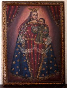 Etsy のCuzco School Virgin Mary and Infant Jesus La Escuela Cuzqueña Roman Catholic Art of Latin America Native American Art/842(ショップ名:GliciniaANTIQUE)