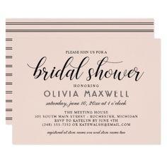 Chic Stripes Bridal Shower Invitation   Blush Pink - bridal shower gifts ideas wedding bride