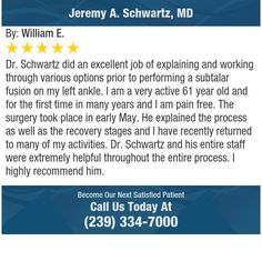 Dr. Schwartz did an excellent job of explaining and working through various options prior...