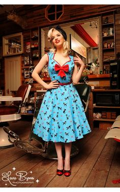 Are you freaking kidding me??? Heidi Dress in Cat Print with Red Bow | PinupGirlClothing.com