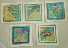 Set of 5 watercolour background cards