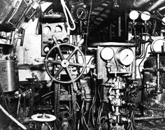 Control room of a Koryu type submarine, looking forward, Oct-Dec 1945, copied from the U.S. Naval Technical Mission to Japan Report S-01-7, Jan 1946, pg 136, fig 155; photo 1 of 3