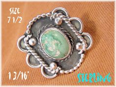 Fox Mine Green Turquoise - Sterling Silver 1940s Navajo Shadow Box Large Ring - Native American Estate - Old Dead Pawn - FREE SHIPPING by FindMeTreasures on Etsy