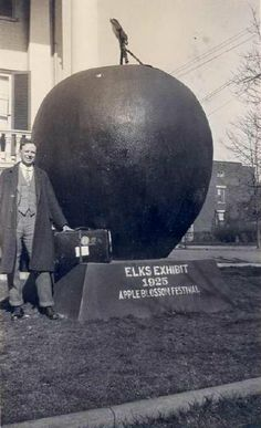 """From the Archives PastPefect photo collection...135 North Braddock Street, known as Lloyd Logan Home, Sheridan's Headquarters, Elks club. Sign below red apple says """"Elks Exhibit 1925 Apple Blossom Festival"""""""