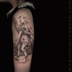 Marco C. Matarese tattoo. Tarot card madness  | Etching, linework, engraving. | Milan, Italy. #purotattoostudio #marcocmatarese #matarese #incisione #etching #engraving #drawing #lines #blackwork #milano #milan #tatuage #ink #tattoo #tattooist #nero #tatuatore #linework #blackart #acquaforte #blackline #tattooideas #inktattoo #black #crossetching #sculpture #arm