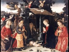 Antoniazzo Romano : Nativity with Saints Lawrence and Andrew (Galleria Nazionale d'Arte Antica di Palazzo Barberini (Italy - Rome)) アントニアッツォ・ロマーノ Italian Christmas Traditions, Italian Renaissance, Counted Cross Stitch Patterns, Vatican, Religious Art, Painting & Drawing, Traditional, Gallery, Drawings