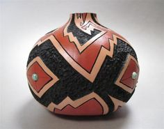 Earth Song, pueblo pottery, native american style carved and painted gourd