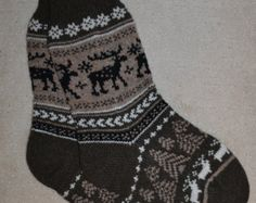 Norwegian Scandinavian Hand Crafted 100% wool SOCKS, XL , folk art,  REINDEER, Fair Isle, massaging medical