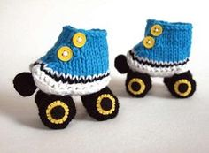 Roller Derby Baby Booties - Your baby will zoom by in these Roller Derby Booties. Okay, maybe not. We actually don't recommend putting them on anyone learning to walk, but your little one will still look adorable in these knit baby booties until then. If you've ever wanted to learn how to make baby booties, are looking for free knitting patterns for babies, or need ideas for homemade baby gifts, this baby booties knitting pattern is perfect for you.