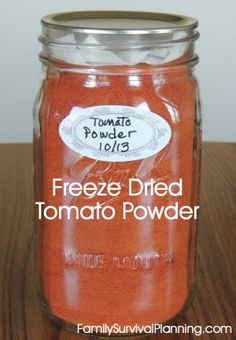 Freeze-Dried Tomato Powder Best Freeze Dried Food, Freeze Drying Food, Freeze Dried Meals, Dried Vegetables, Gardening Vegetables, Harvest Right Freeze Dryer, Goat Milk Recipes, Dehydrated Food, Dehydrator Recipes