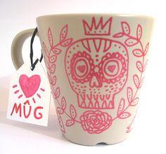 Hand -painted Mug. OOAK. Custom orders. Valentine gift. Skull mug.. $13.00, via Etsy.