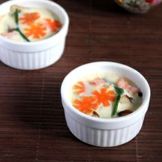 Japanese Style Egg Custard, Cooked with shrimp mushroom and egg, healthy breakfast