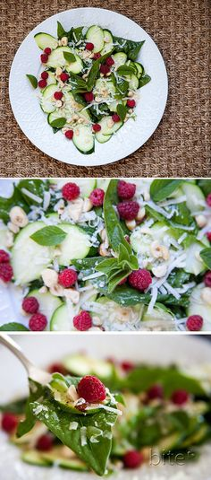 Zucchini and toasted hazelnut salad topped with raspberries and parmigiano-reggiano cheese